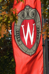 "A ""W"" crest banner hangs amid tree leaves changing colors during autumn on Bascom Hill at the University of Wisconsin-Madison on Nov. 9, 2007.  Photo by: Jeff Miller"
