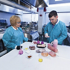 Kathy Glass FRI and Jeff Sindelar AnSci looking at safety of processed meats. picture by Wolfgang Hoffman